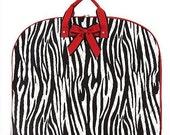 Personalized Quilted Zebra Garment Bag  Girls Dance Bag Zebra Garment Bag with Red Trim
