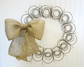 Handmade Primitive Old Bed Spring Wreath with Burlap Bow