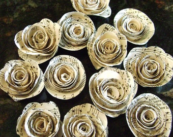 """Dozen  1. 25""""-1.75""""    hymnal sheet music page spiral roses embellishments recycled vintage books"""