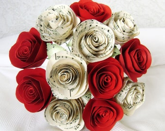 """2"""" spiral hymnal sheet music roses spiral red roses one dozen cabbage roses paper flowers bouquet wedding rehearsal  Valentines day rts"""
