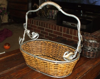 Vintage Basket Handled Antique Silver Pewter and Gold Tone Metal and Rattan Wicker Leaf Molif