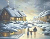 Ice Skaters large 30x40 original oils on canvas painting by RUSTY RUST / M-351