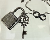 "BDSM gift Infinity Necklace bdsm ""lock and key"" submissive gift Lariat & Y Necklace"