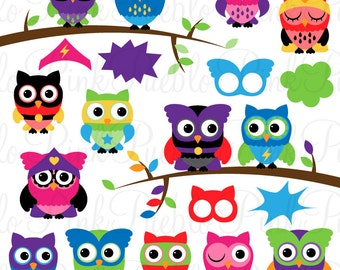 Superhero Owl Clipart Clip Art Vectors, Great for Superhero Party Invitations - Commercial and Personal
