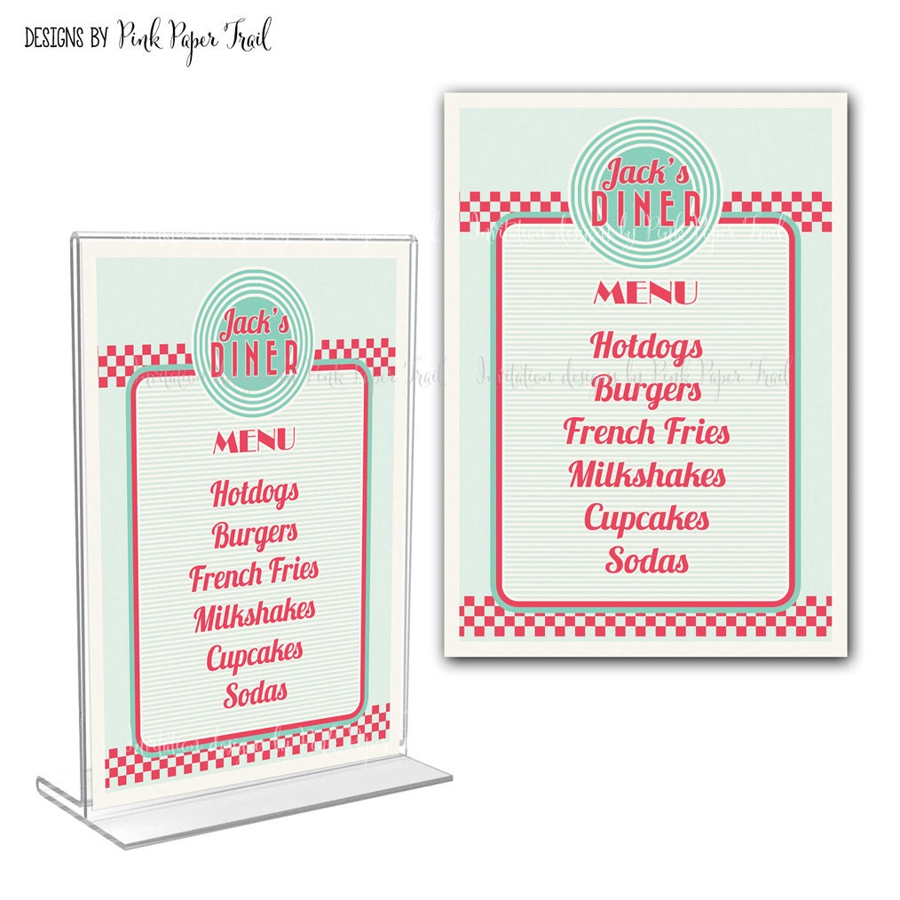 Retro Diner Menu Card I Will Customize For You Print Your