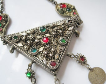 Vintage Ottoman Necklace - Triangle Amulet - Balkan or Greek Jewelry - Ethnic Jewelry