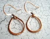 Copper Teardrop Earrings, Free US Shipping