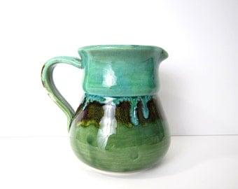 Vintage Italian Pottery Ceramic Pitcher - Mid-Century Ceramics Milk Jug - Green - Mancer Italy