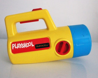 Vintage Playskool Color Changing Flashlight 1980s Yellow and Blue