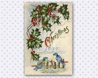 Clip Art Victorian Christmas Birds Old Card Holly Berries Winter Graphic Clipart Antique Printable Digital Instant Download Scrapbooking
