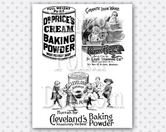Clip Art Victorian Old Advertisements Cooking with Baking Powder Printable Digital Instant Download Scrapbooking Print Kitchen