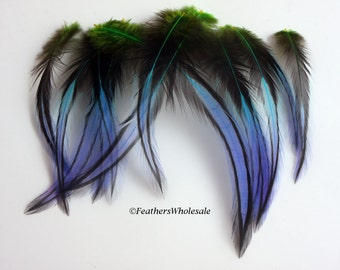 12 Peacock Blue Green Purple Craft Feathers Homemade Feather Craft Supplies Multicolor Real Feathers Blue Green Feathers Blue Craft Feathers