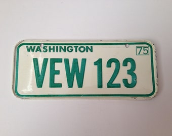 Bicycle License Plate Cereal Premium Metal State Of Washington 1975