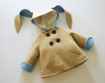 Baby Boy Easter Bunny Jacket// Toddler Boy Easter Best// Boy's Wool Felt Bunny Coat//Luxe Little Rabbit in Blue// Handmade Boy's Clothing