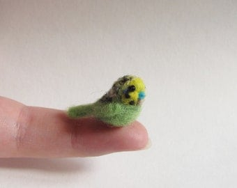 Green budgie needle felted miniature