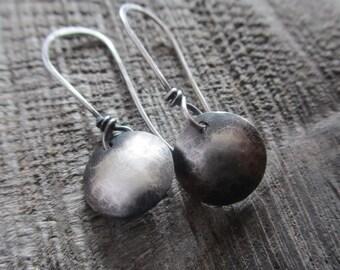 Moonshadow - sterling silver domed earrings