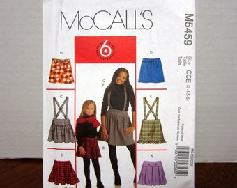 UNCUT OOP McCall's 5459 Sewing Pattern For Children's Or Girls Clothing Skirts Belt And Leggings Sizes 3-4-5-6 With Factory Folds