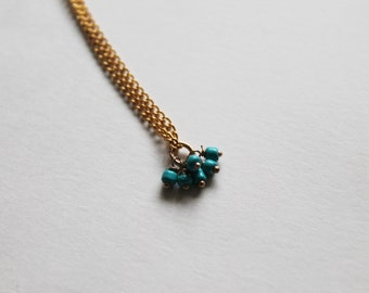 tiny turquoise beads -necklace (light blue sea sky ciel beads and gold plated chain minimal discreet neckpiece)