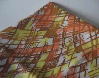 Abstract brushstroke print crisp polyester fabric like taffeta peach yellow and mustard on white