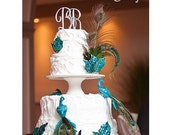 Items Similar To Teal Wedding Peacock Cake Topper Centerpiece Decoration Shabby Floral Glitter