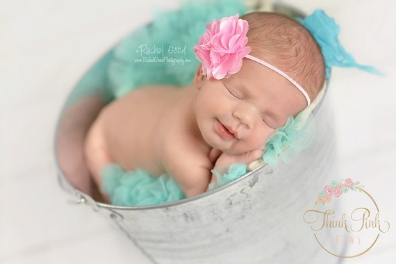 Baby headband,flower headband,newborn headband,baby girl headband,satin tulle flower headband, baby headbands, Hair bows CHOOSE YOUR COLOR