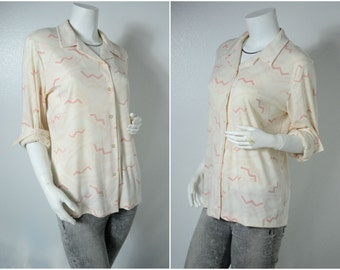 70s pastel pink cream abstract geometric new wave print shirt dress blouse