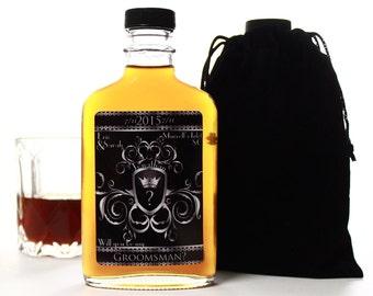 Asking Groomsmen, Custom Groomsmen Gift, Personalized Glass Flask, 200ml
