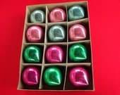 Vintage Shiny Brite Balls, Aqua, Pink, & Green Pointed Ornaments, Set of 12 Large Glass Christmas Tree Balls