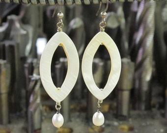 White Shell and Akoya Pearls Dangling Earrings, ER-0152