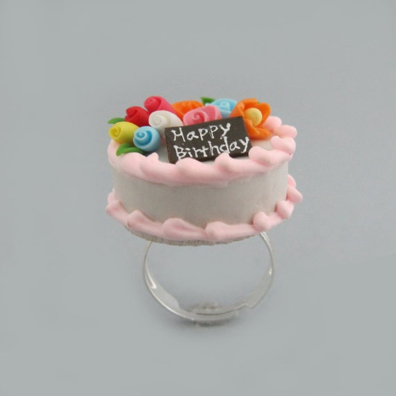 Happy Birthday Cake Miniature Food Ring Miniature Food