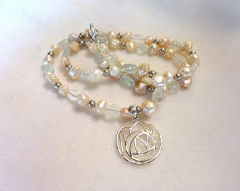 Pearl Quartz Silver Gemstone Rose Pendant Necklace and Earring set  - 19 Inches - Dainty Rose