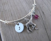 Giraffe Bangle Bracelet- Adjustable Bangle Bracelet with Hand-Stamped Initial, Giraffe Charm, and accent bead- Hand-Stamped Bracelet