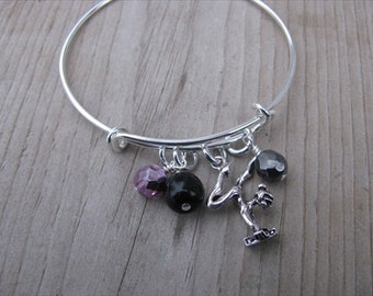 Gymnast Bangle Bracelet- Adjustable Bangle Bracelet with gymnast charm and glass beads in pink, hematite, and black