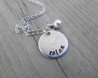 """Relax Inspiration Necklace- """"relax"""" with an accent bead in your choice of colors- Hand-Stamped Jewelry"""