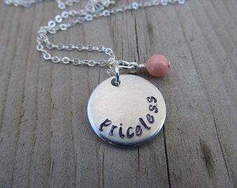"Priceless Inspiration Necklace- ""priceless"" with an accent bead in your choice of colors- Hand-Stamped Jewelry"