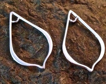 Sterling Silver Chandeliers - 2 Polished Contemporary Pointed Teardrops - 2 Earring Components or Pendants E47