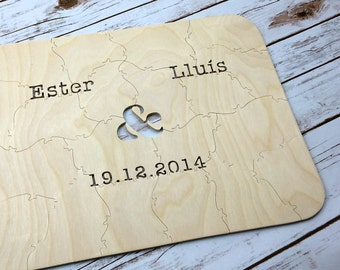 90 pc Wedding Guestbook Puzzle, guestbook alternative, wedding AMPERSAND puzzle guest book, Bella Puzzles™ rustic bohemian wedding