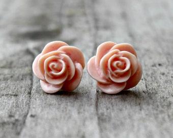 Peach Rose Earrings on Hypoallergenic Titanium Posts/studs