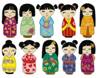 CHINA DOLLS - Machine Applique Embroidery - Instant Digital Download