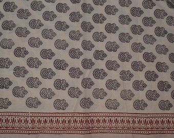 Bagh print  Indian summer cotton fabric  in mild pink colour - One yard