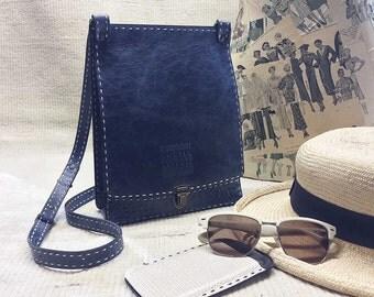 Crossbody travel purse - - BLUE leather