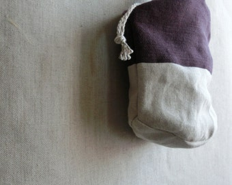 Round bottom bag ( purple + flax ) +drawstring Linen Organic cotton
