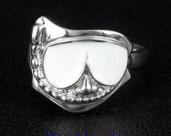 White Enamel Snorkel MASK Diver Sterling Silver Ring Size Adjustable