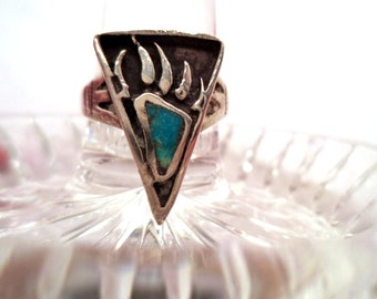 Vintage Sterling Turquoise Bear Claw Foot Ring Zuni Native American Indian Jewelry