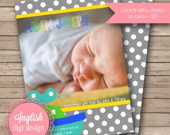 Tugboat Birth Announcement, Tugboat Baby Photo Announcement, Printable Tugboat Baby Photo Announcement in Gray, Yellow, Teal and Green