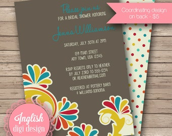 Retro Flourish Bridal Shower Invitation, Flourish Bridal Shower Invite, Printable Flourish Bridal Shower Invitation in Mustard, Red, Teal