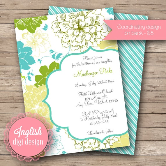 Printable Floral Baptism Invitation, Floral Baptism Invite - Spring Flowers in Turquoise, Green and Yellow