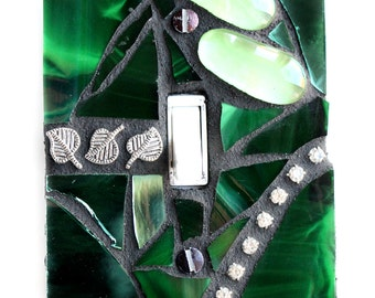 Hunter Green - SIngle Mosaic Light Switch Cover Wall Plate - Made by Me!