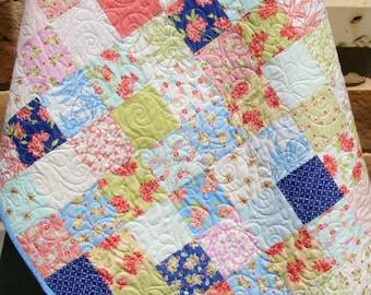 Aloha Girl Baby Quilt, Hawaiian Flowers, Navy Blue Coral Green, Nursery Crib Bedding, Patchwork Blanket, Beach Coastal Flowers, Sunnyside