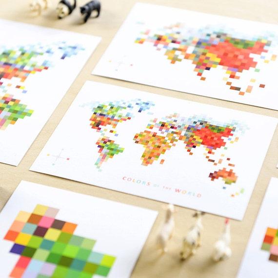 Pixel Map 'Colors of the World' Print Set of 6 // Modern World Map Art Geeky Decor 8 bit Pixels